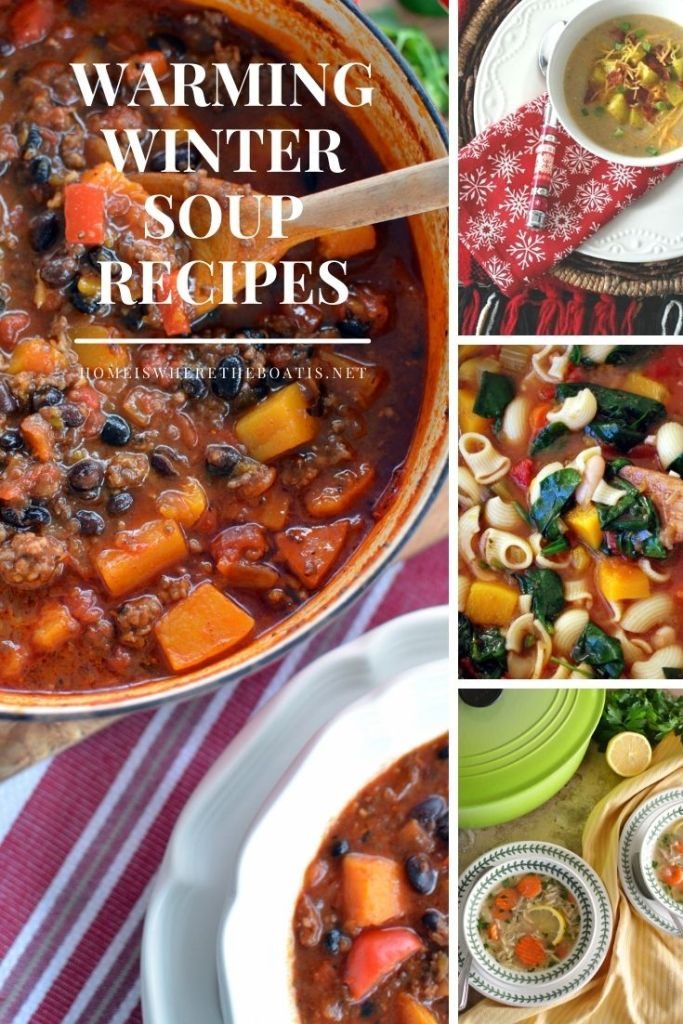 Warming Winter Soup Recipes | ©homeiswheretheboatis.net #soup #winter #chili #recipes