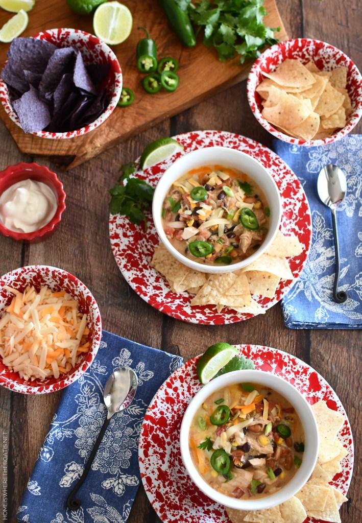 Creamy Chicken Tortilla Soup | ©homeiswheretheboatis.net #soup #recipe