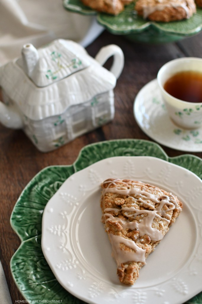 Belleek teapot and teacup and Irish Cream Scones | ©homeiswheretheboatis.net #stpatricksday #scones #irish #teatime