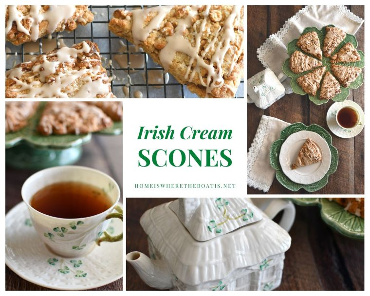 Irish Cream Scones | ©homeiswheretheboatis.net #stpatricksday #scones #irish #teatime