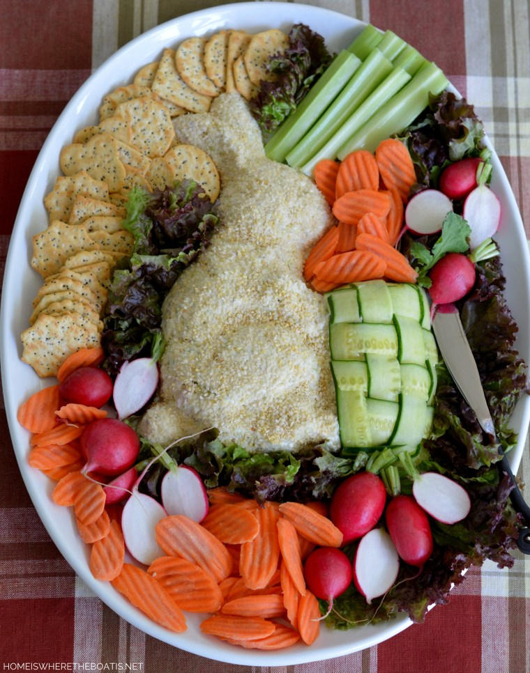 Party Chicken Salad Spread with crackers and veggies! Would be cute for a baby shower or with egg salad for Easter! | ©homeiswheretheboatis.net #BeatrixPotter