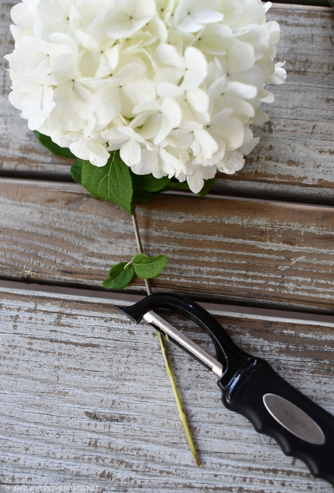 Tip for woody stems in flower arrangements! | ©homeiswheretheboatis.net