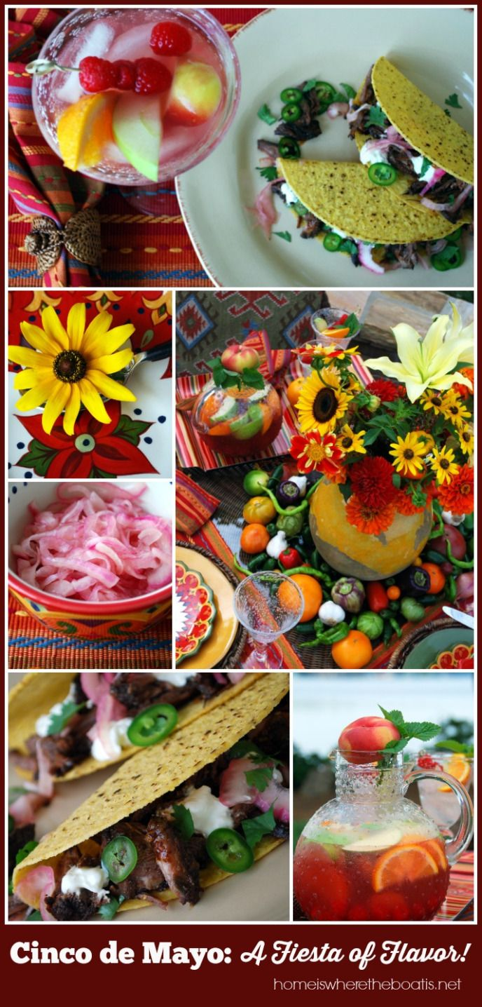 Cinco de Mayo: A Fiesta of Flavors recipes and table inspiration | ©homiswheretheboatis.net #sangria #taco