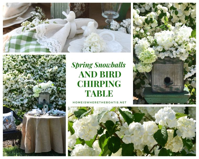 Bird Chirping Table and Snowball Viburnum | ©homeiswheretheboatis.net #spring #flowers #garden #tablescape #alfresco