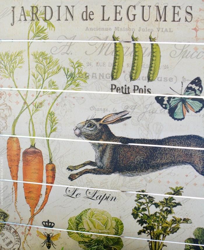 Jardin de Legumes | ©homeiswheretheboatis.net #tablescapes #bunnies #shed #spring