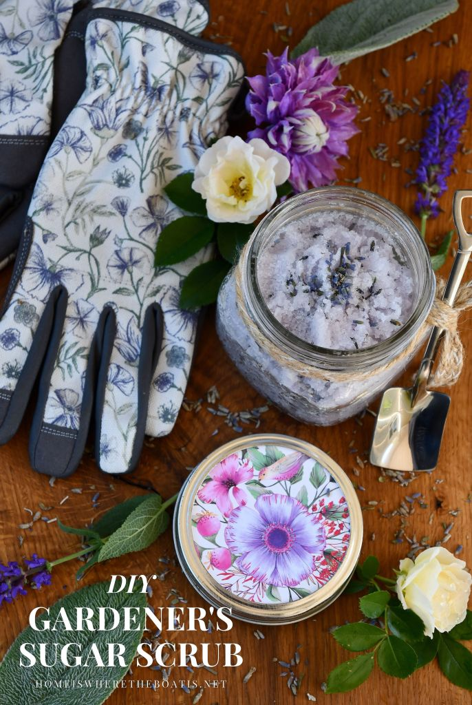 Easy 5-Minute Gardener's Sugar Scrub Recipe | ©homeiswheretheboatis.net #diy #craft #easy