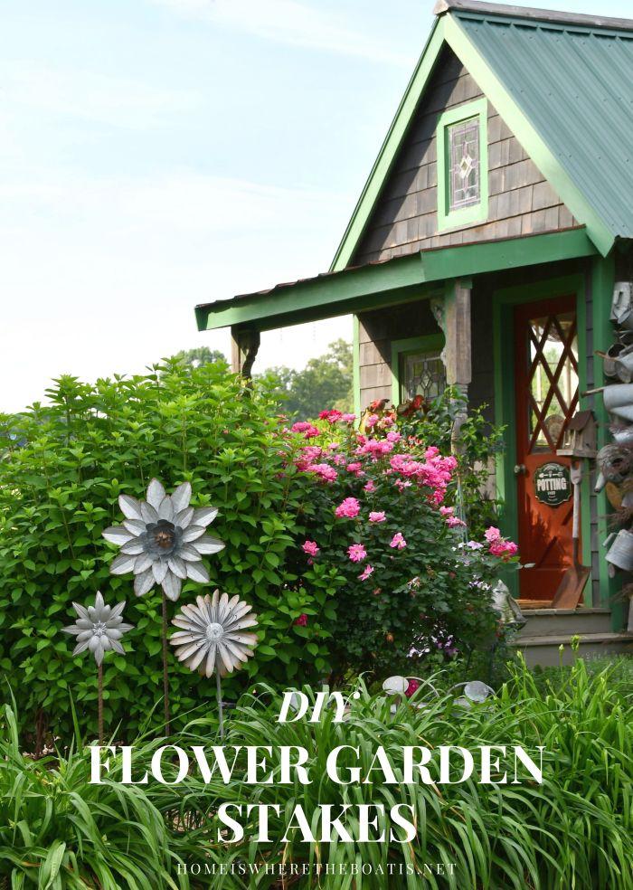 Plant a little garden whimsy with DIY Flower Garden Stakes | ©homeiswheretheboatis.net #garden #flowers #DIY