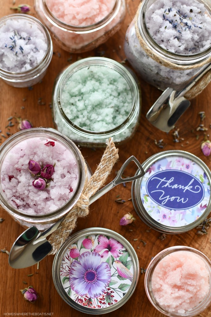 How to Make a Fragrant & Colorful 5-Minute Sugar Scrub | ©homeiswheretheboatis.net #diy #craft #easy