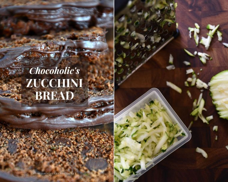 A Delicious Way to Sneak in Some Veggies: Chocoholic's Zucchini Bread | ©homeiswheretheboatis.net #chocolate #cake #bread #zucchini #recipe