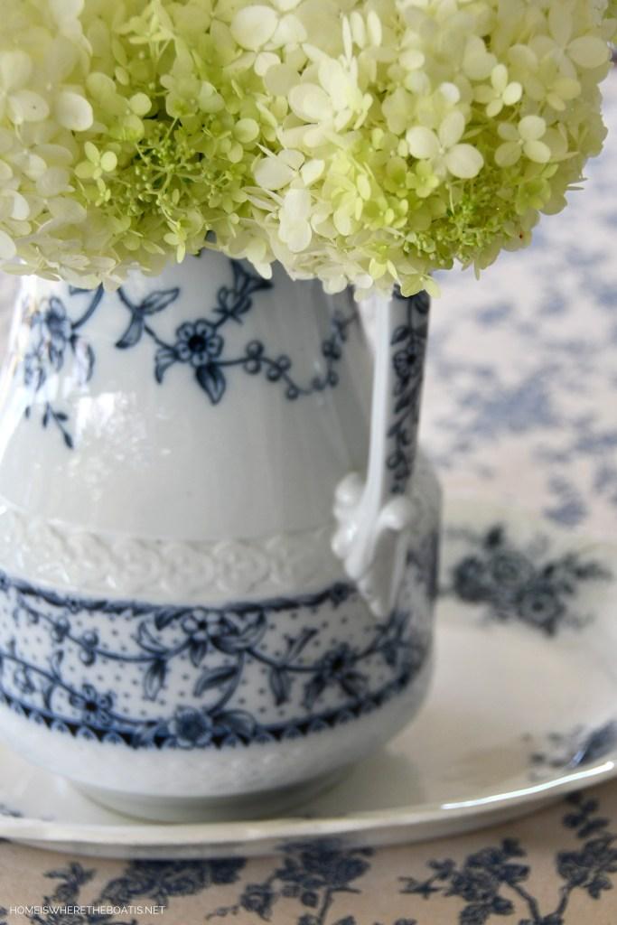 Maltese Blue by Wedgwood pitcher with hydrangeas | ©homeiswheretheboatis.net #transferware #blueandwhite #hydrangeas