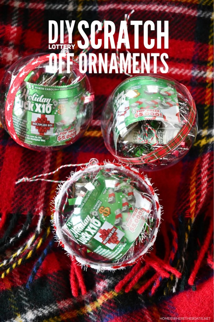 DIY Lottery Scratch Off Ornaments | ©homeiswheretheboatis.net #christmas #giftwrap #ornament #DIY