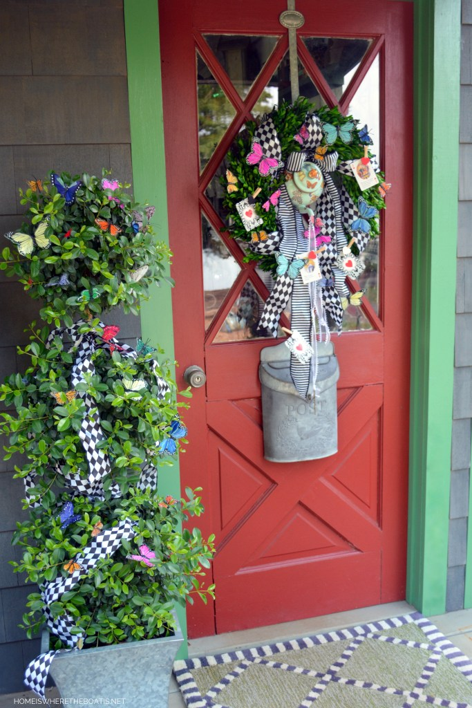Potting Shed door and Teapot Wreath for Mad Tea Party | ©homeiswheretheboatis.net #teaparty #aliceinwonderland #wreath
