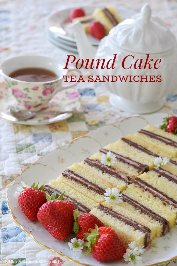 Pound Cake Tea Sandwiches! Layers of chocolate buttercream and strawberry cream cheese sandwiched between layers of pound cake for an easy teatime treat! | ©homeiswheretheboatis.net #tea #recipe #easy #nobake