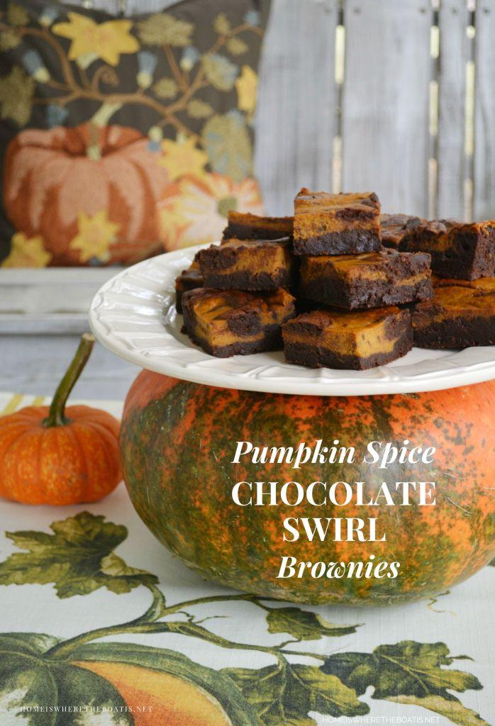 Pumpkin Spice-Chocolate Swirl Brownies   ©homeiswheretheboatis.net #fall #pumpkin #brownies #recipes