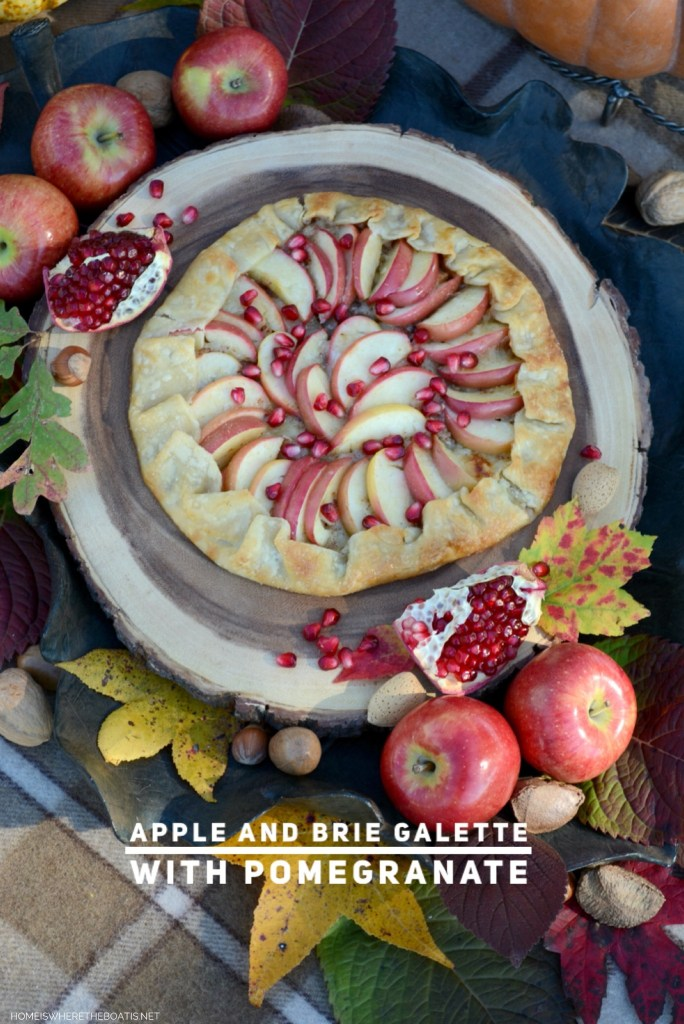 Quick and Easy Apple and Brie Galette with Pomegranate   ©homeiswheretheboatis.net #easy #apple #dessert #fall #recipes