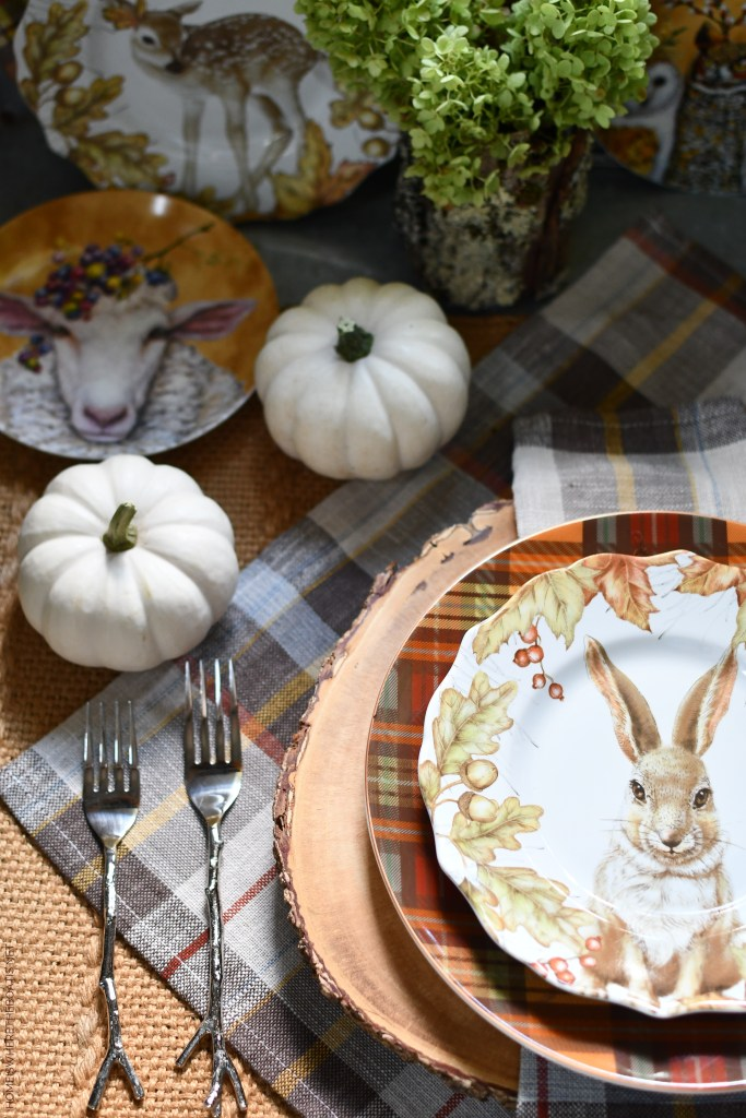 Whimsical Fall Table and vignette with Woodland Friends in the Potting Shed | ©homeiswheretheboatis.net #fall #tablescape #owl