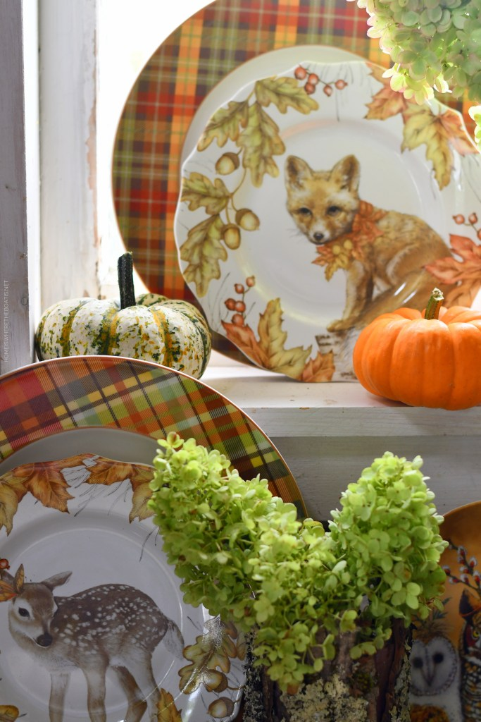 Whimsical Fall Table and vignette with Woodland Friends in the Potting Shed | ©homeiswheretheboatis.net #fall #tablescape