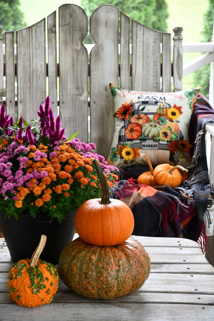Hello Fall: Quick and Easy Embellished Pumpkin Patch Farm Pillow Cover | ©homeiswheretheboatis.net #fall #craft #DIY #pillow