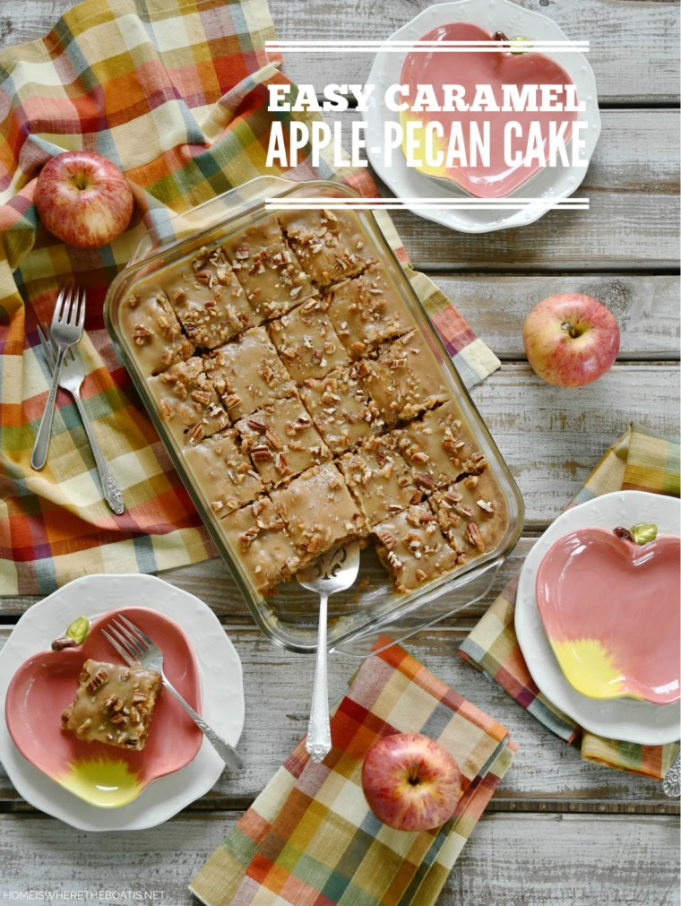 Easy Caramel Apple-Pecan Cake | ©homeiswheretheboatis.net #fall #apple #cake #recipes #easy #dessert #caramel