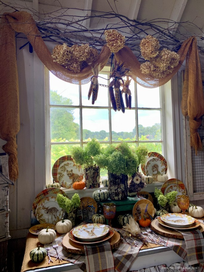 Whimsical Fall Table and vignette with Woodland Friends in the Potting Shed | ©homeiswheretheboatis.net #fall #tablescape #owls
