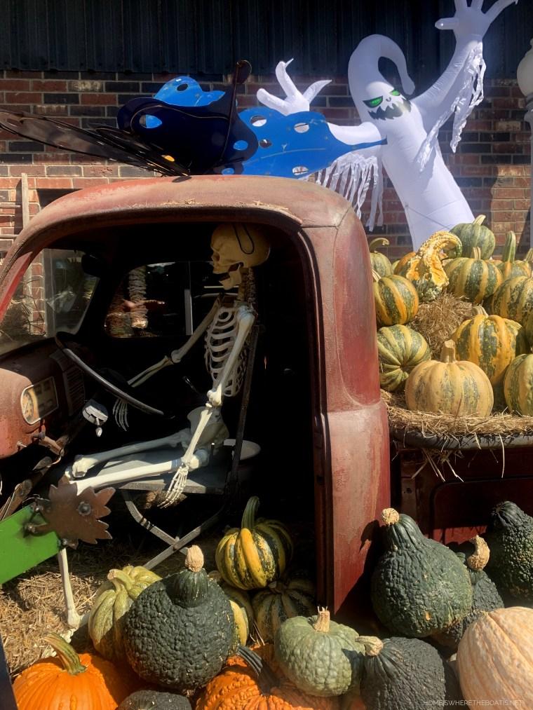 Pumpkin display with old truck, ghost and skeleton | ©homeiswheretheboatis.net #pumpkins #fall #halloween