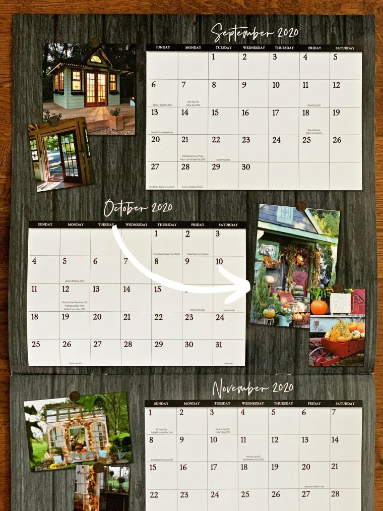 otting Shed in She Shed Living 2021 Calendar | ©homeiswheretheboatis.net #fall #shed
