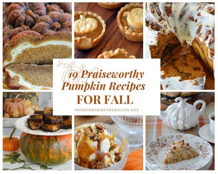 19 Praiseworthy Pumpkin Recipes for Fall | ©homeiswheretheboatis.net #pumpkin #recipes #desserts #pie #scones #cake #icecream #brownies