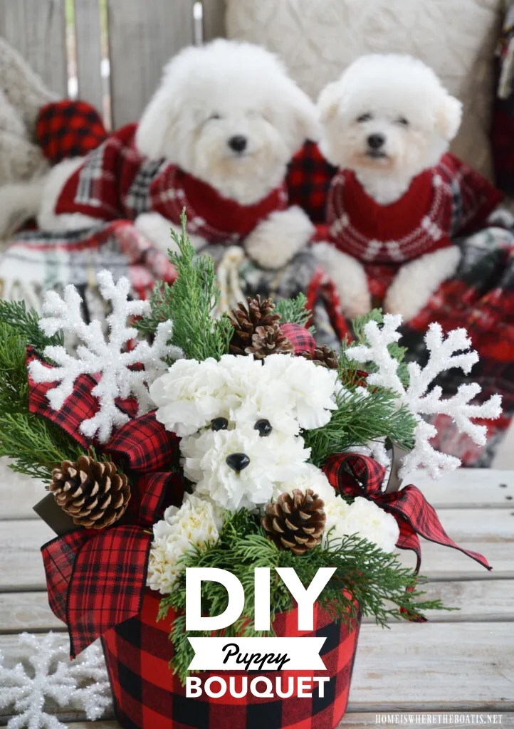 Create a puppy bouquet flower arrangement with this easy tutorial. This DIY is dog gone fun to create and share with someone in need of some puppy love, at a fraction of the price as one from the florist!