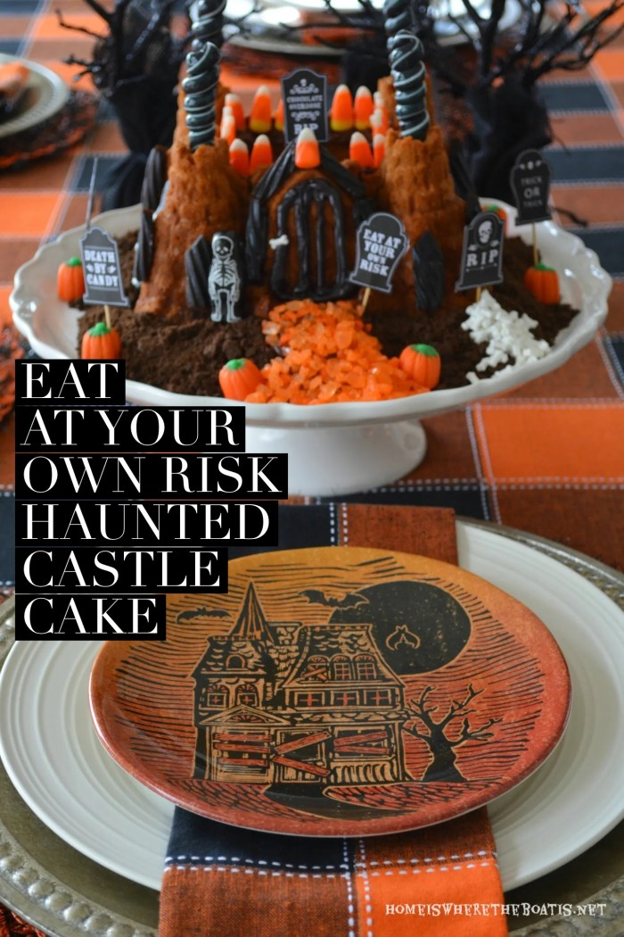 The Witching Hour Halloween Tablescape and Haunted Castle Cake | ©homeiswheretheboatis.net #Halloween #tablescape #bundt #cake