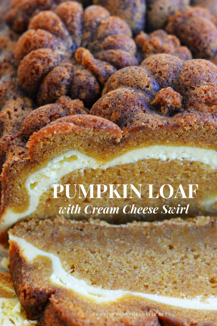 Pumpkin Loaf with Cream Cheese Swirl A moist, spiced pumpkin cake with a tangy cream cheese layer, perfect for a fall morning, Thanksgiving weekend or anytime you slice it!