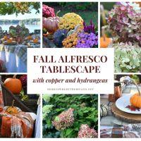Adding the Warmth of Copper: Alfresco Fall Table and Easy Hydrangea Centerpiece