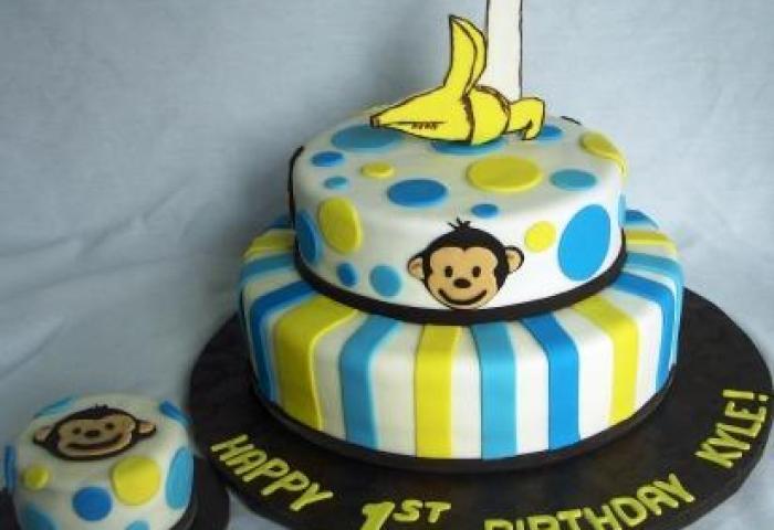 Mod Monkey 1 Banana Tiered First Birthday Cake With Baby Cake