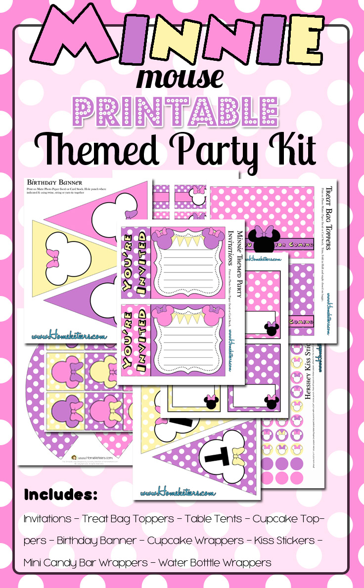 Pink Minnie Mouse Birthday Party Printable Kit