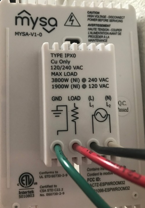 small resolution of rear of power board thermostat mounted onto wall