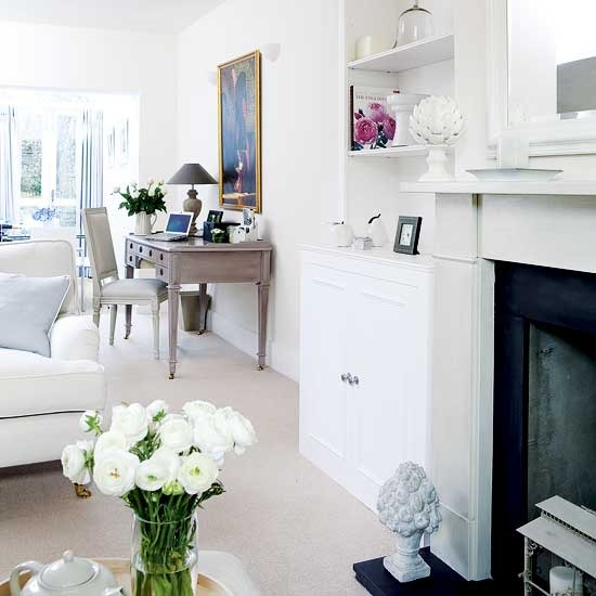 8 white traditional living room ideas 2011 Open plan living room and home office  White traditional living room ideas 2011