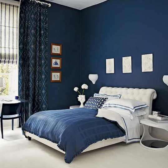 4 colourful bedrooms modern design Deep blue bedroom Colourful Bedrooms   Modern Design