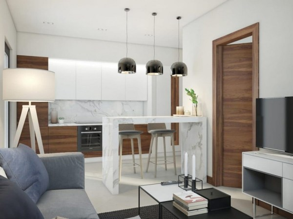 scandinavian interior design kitchen white Functional Scandinavian-Style Apartment in White, Gray