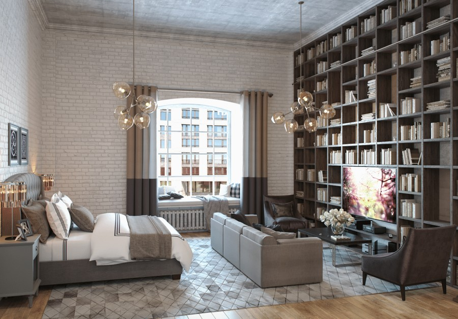 turquoise and brown living room decorating ideas paint my loft studio apartment with mezzanine & gorgeous library ...