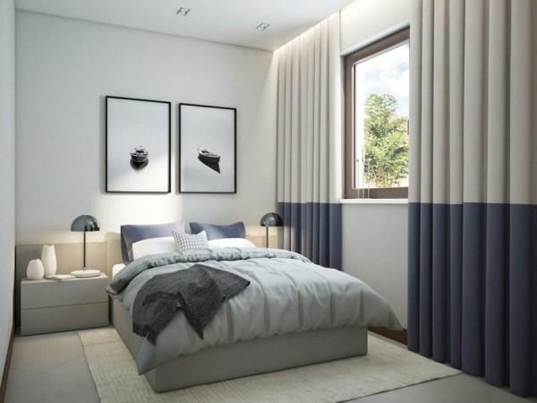 scandinavian bedroom design grey Functional Scandinavian-Style Apartment in White, Gray & Blue | Home Interior Design, Kitchen