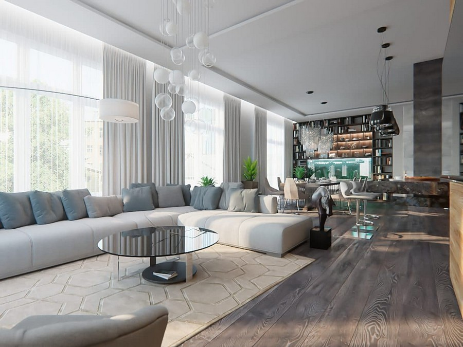 Gorgeous Open Concept Living Room In Contemporary Style Home