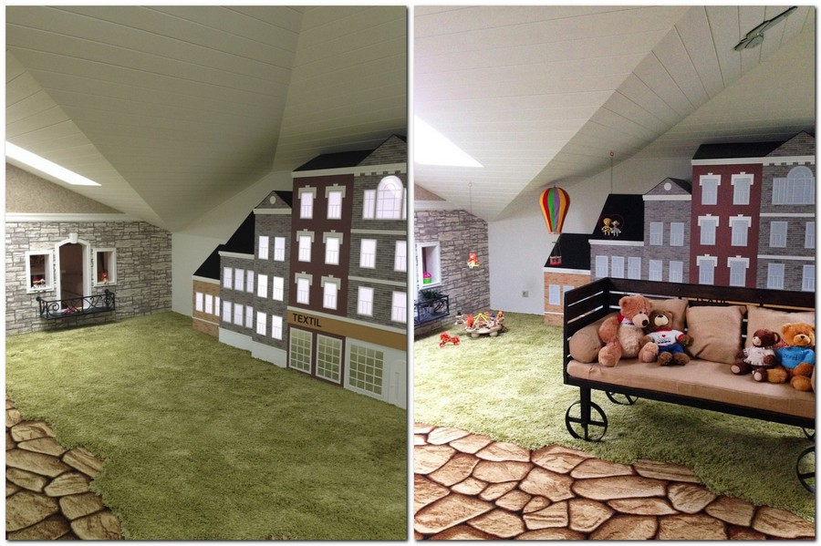 Attic Game Room – Kids' Dream Town Home Interior Design Kitchen