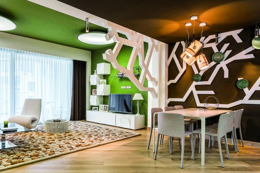 tv lounge sofa set sleeper queen contemporary interior design inspired by summer garden ...