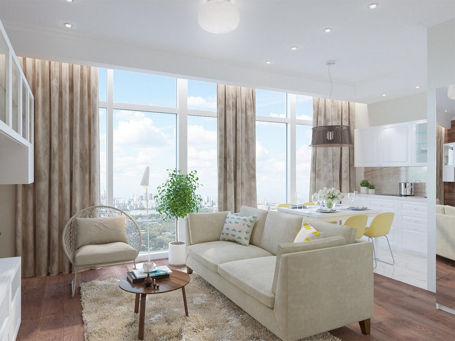 Sunny Studio Apartment with Panoramic Windows in the Heart