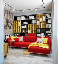 Dynamic One-Room Apartment Interior for Young People ...