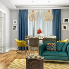 Curtains In Gray Living Room Ideas To Decorate A Large Wall How Mix Styles: Middle Century Modern, American ...