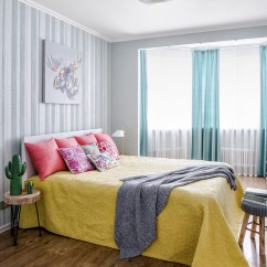 Kitchen Curtains For Bay Windows How To Make Your Own Cabinets Airy Contemporary Apartment With Scandinavian And Pop Art ...