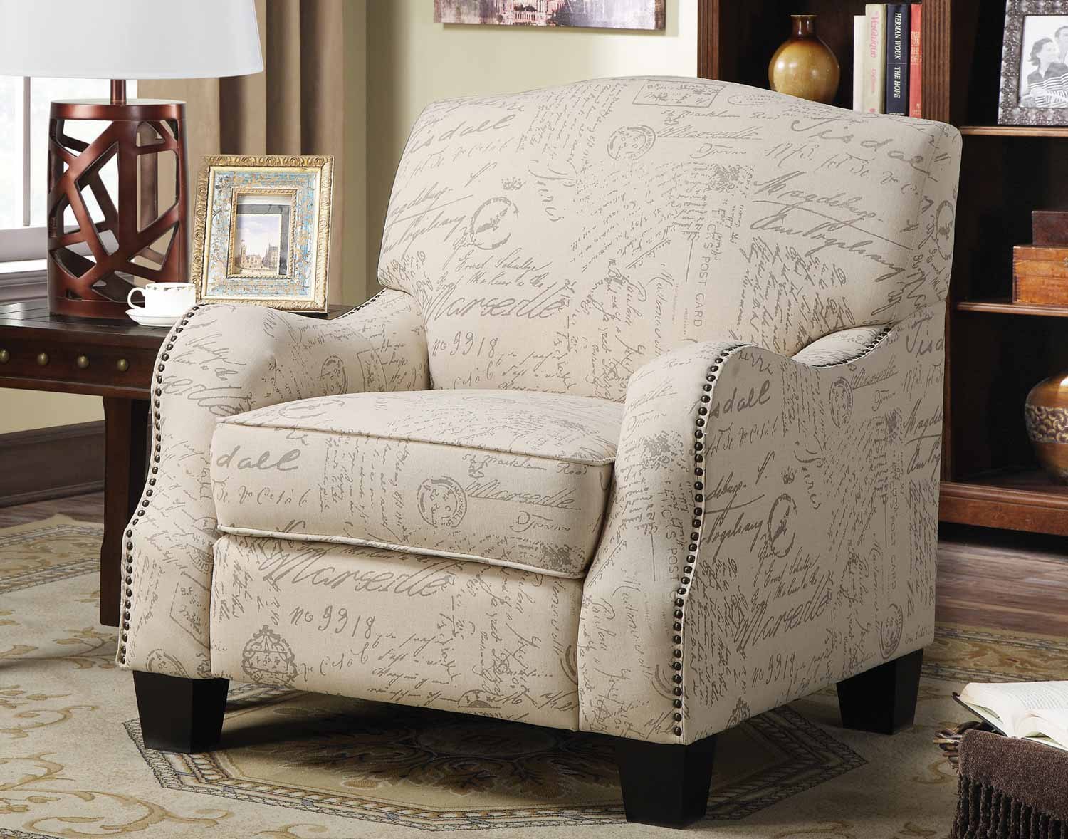 Cream Accent Chair Coaster 900560 Accent Chair Cream With Grey Print 900560