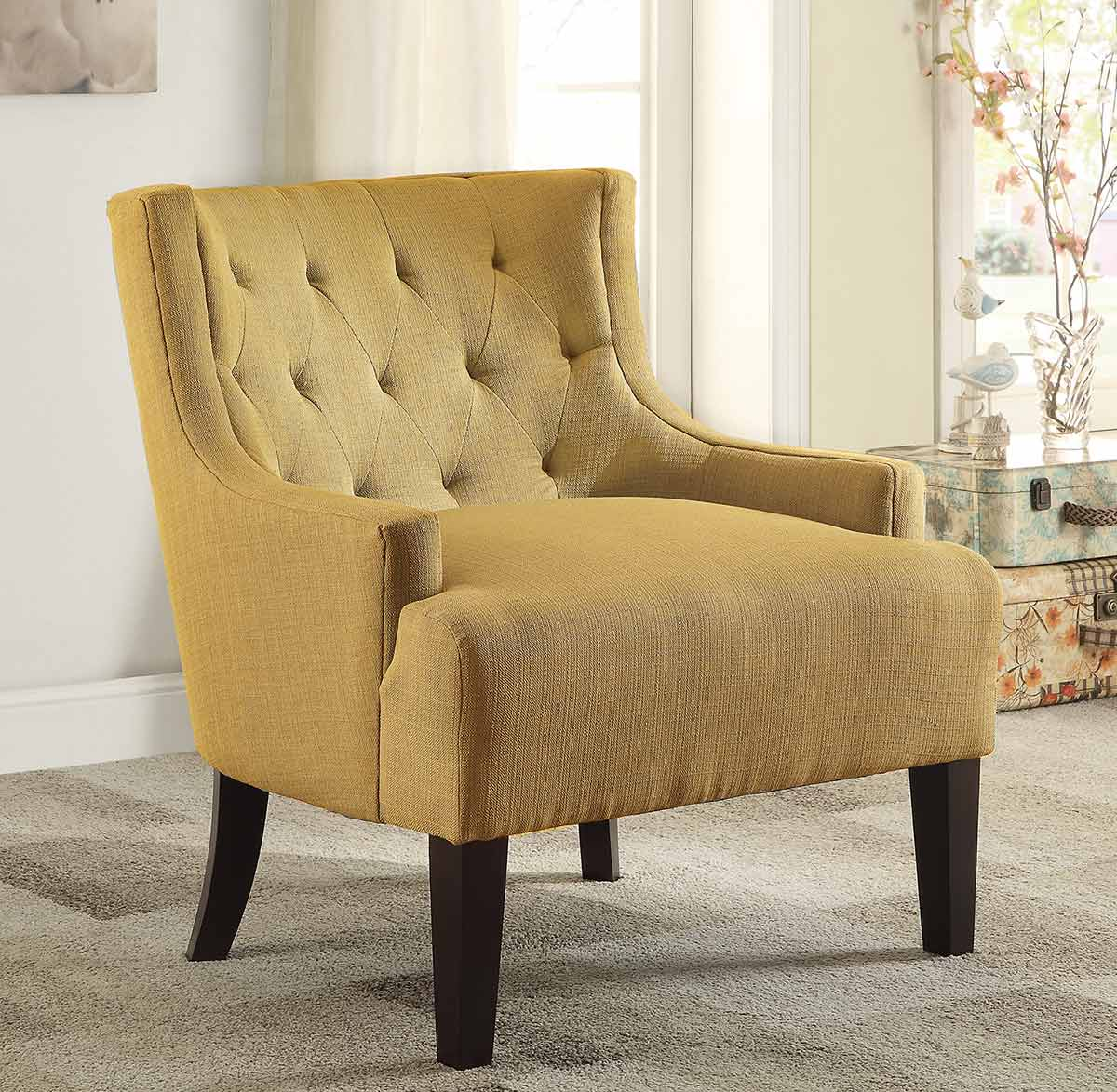 Yellow And Grey Accent Chair Homelegance Dulce Accent Chair Mustard 1233md At