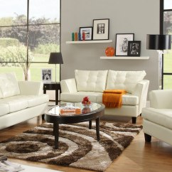 Leather Sofa Sets For Living Room Flowers Design White Furniture Set