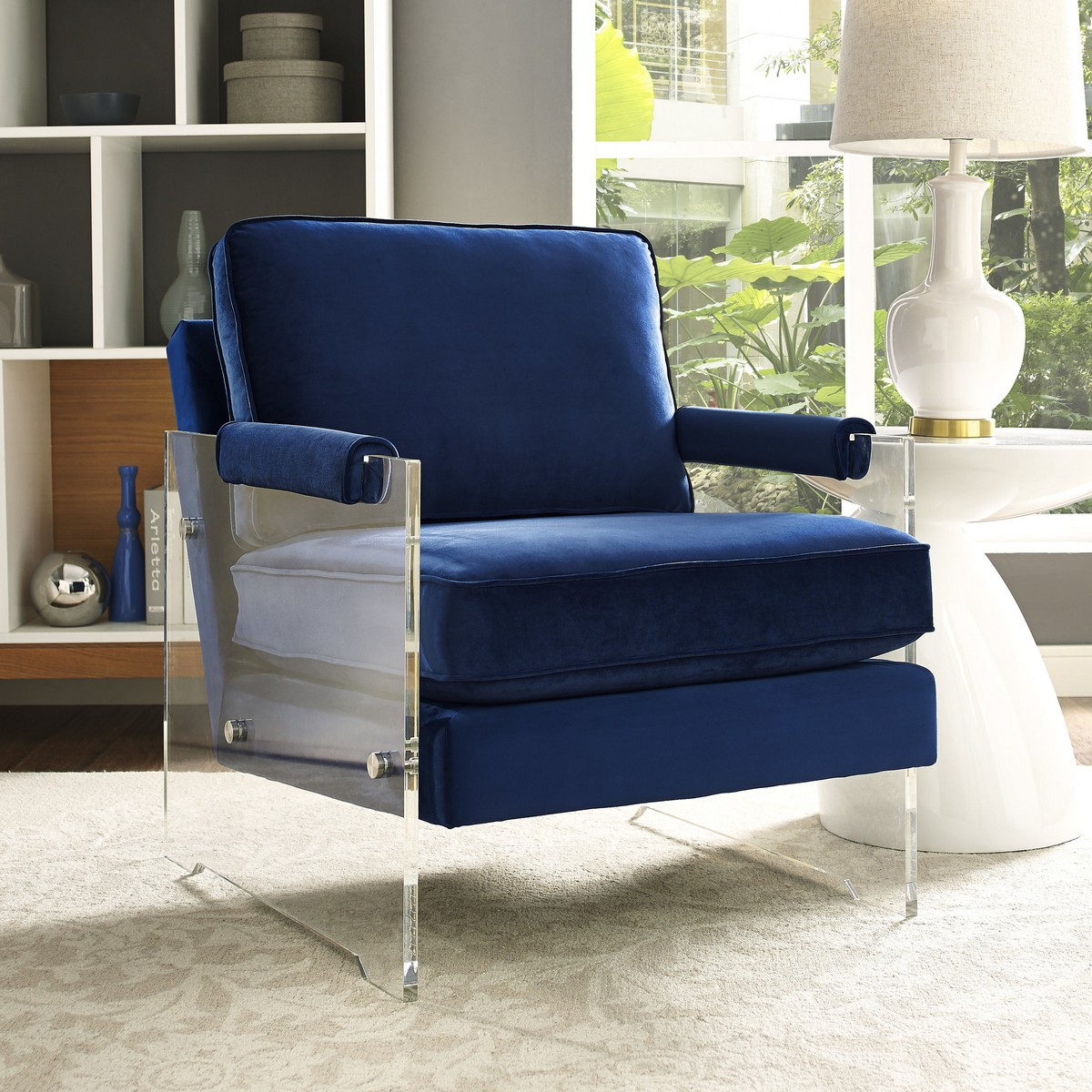Acrylic Chair Tov Furniture Serena Navy Velvet Lucite Chair A94 At